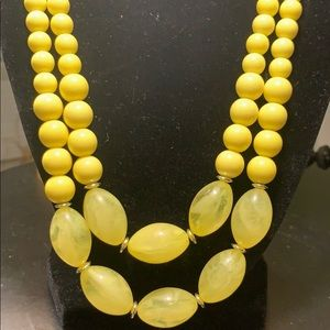 Lemon drop beaded necklace and earring set